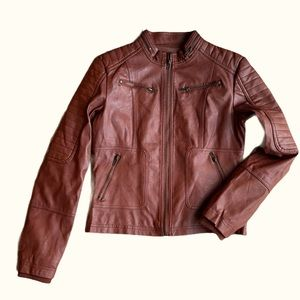 Maralyn & Me Brown Faux Leather Moto Jacket Size M